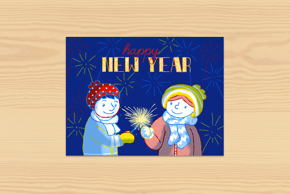 Postkarte Happy New Year 2019 Frieda und Markus
