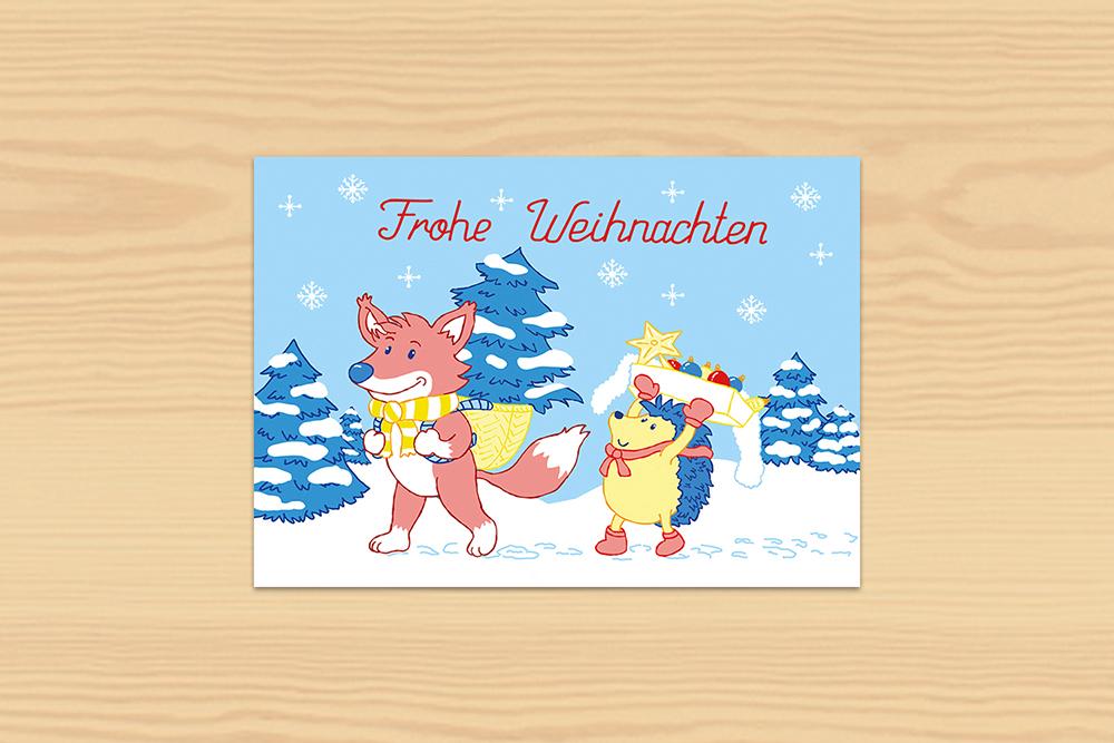 Postkarte Weihnachten Fuchs und Igel