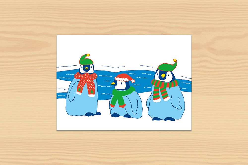 Postkarte Winter Pinguine