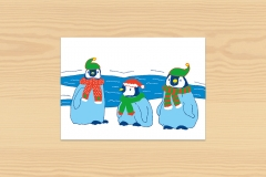 Postkarte Winter Pinguine